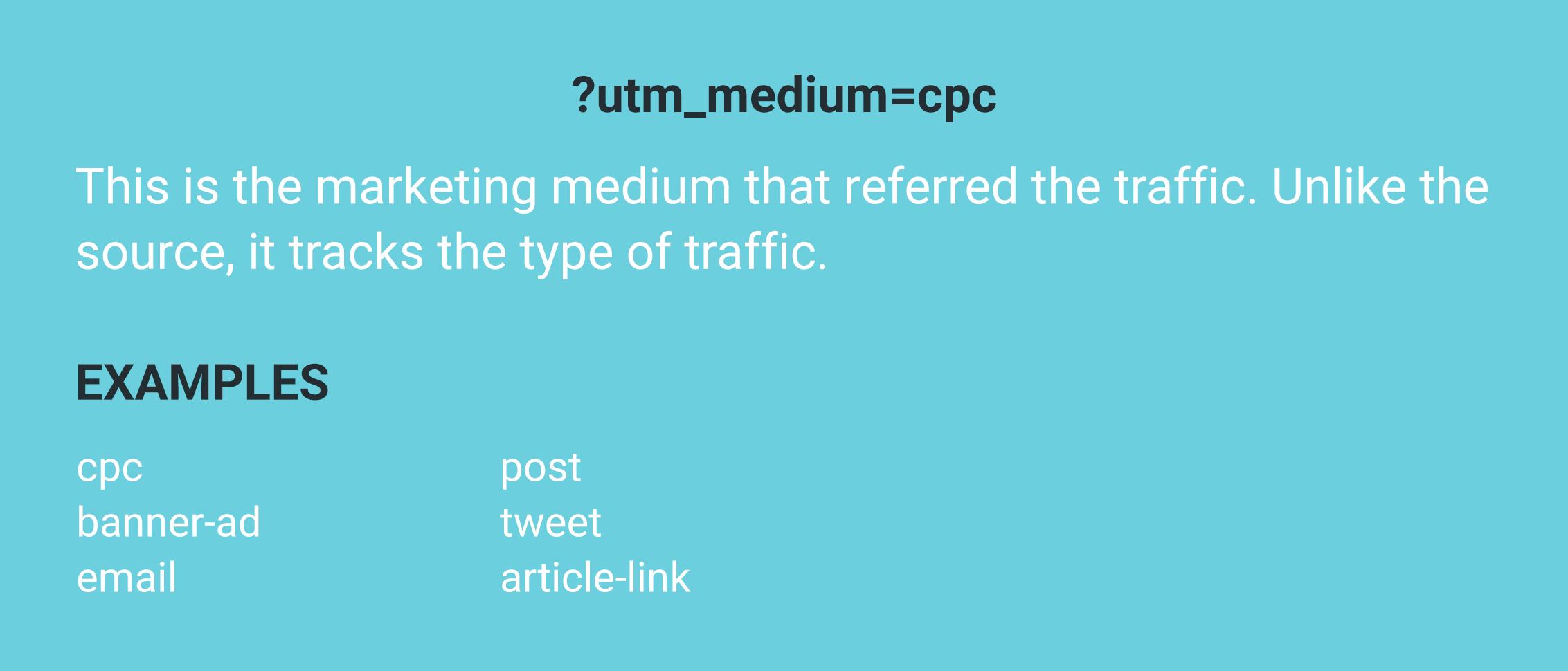 UTM medium examples