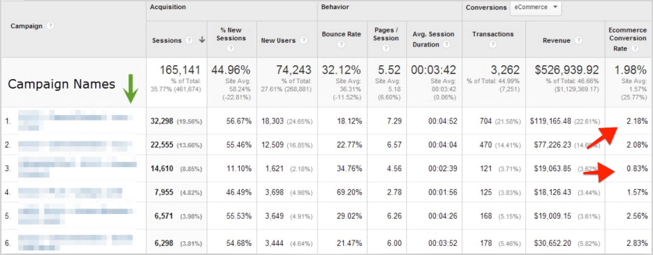 ecommerce-conversion rate by campaign