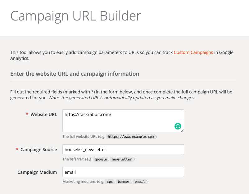 Google UTM link builder tool